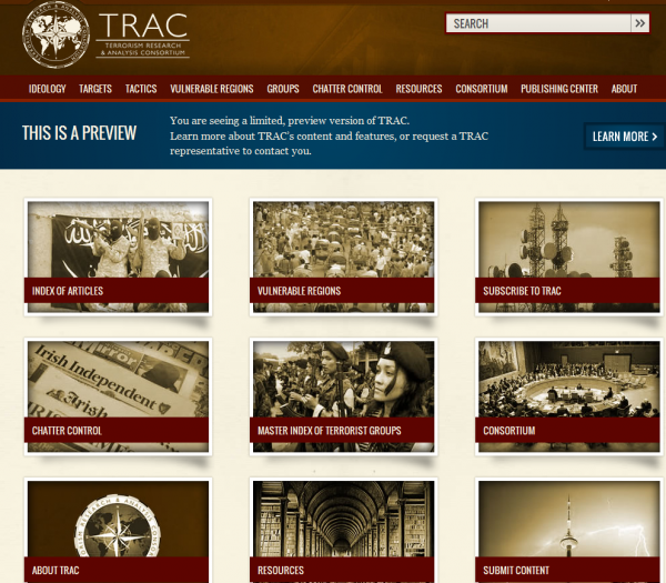 home page for TracTerrorism.org