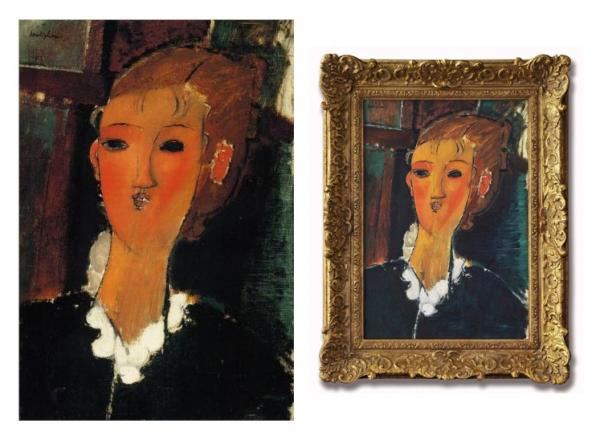 Photo: The 'Young Woman in a Small Ruff' painting by Amedeo Modigliani and Susie Ray's copy.