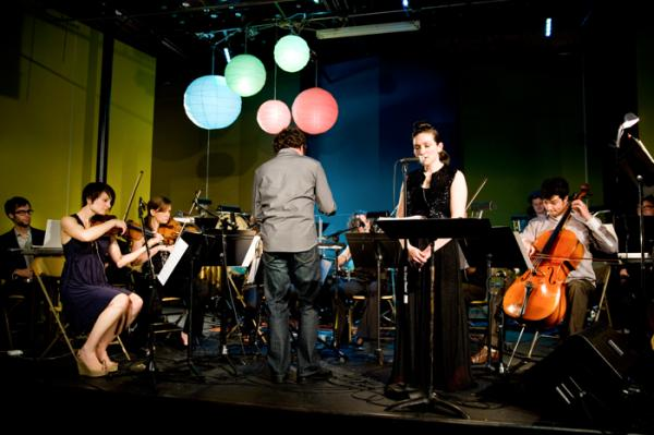 Musicians from New Music Raleigh perform in a production called Penelope at Kings Barcade.