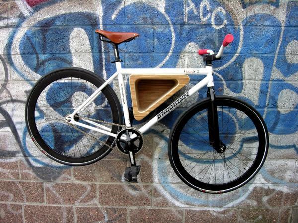 bike hanging on a wall