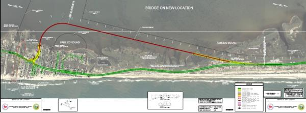 A second design sends the bridge out into the Pamlico Sound.