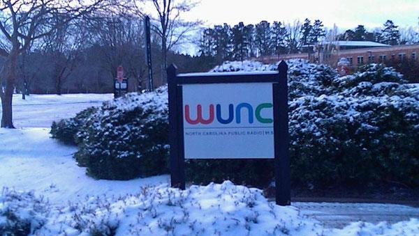 Snow on the WUNC sign at the Chapel Hill studios. Morning 1/29/14.