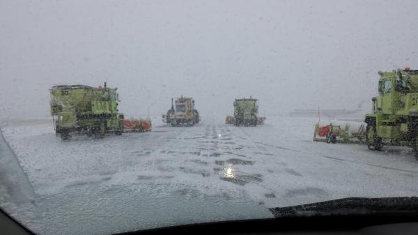 Crews at work at Piedmont Triad International Airport (GSO) (2/12/14)
