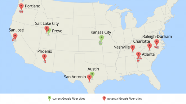 Green indicates current Google Fiber cities. Red indicates potential cities.