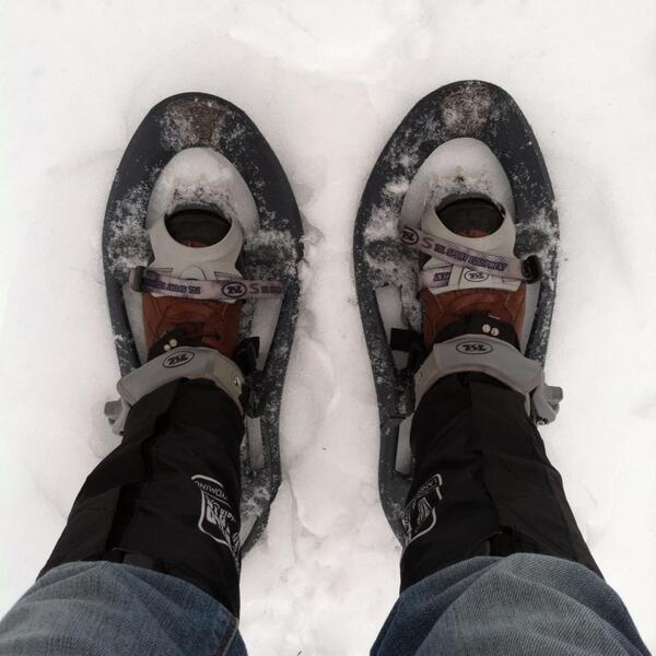 New producer Rebecca Martinez headed out the back door of our Chapel Hill studios with her trusty snowshoes.