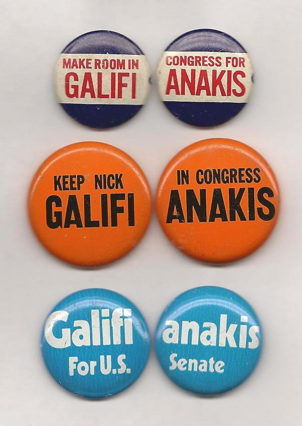 Nick Galifianakis Buttons from Ken Rudin's Collection