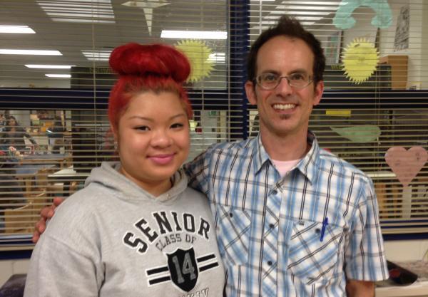 Northern High School senior Katie Tran and track coach/math teacher Blake Rahn