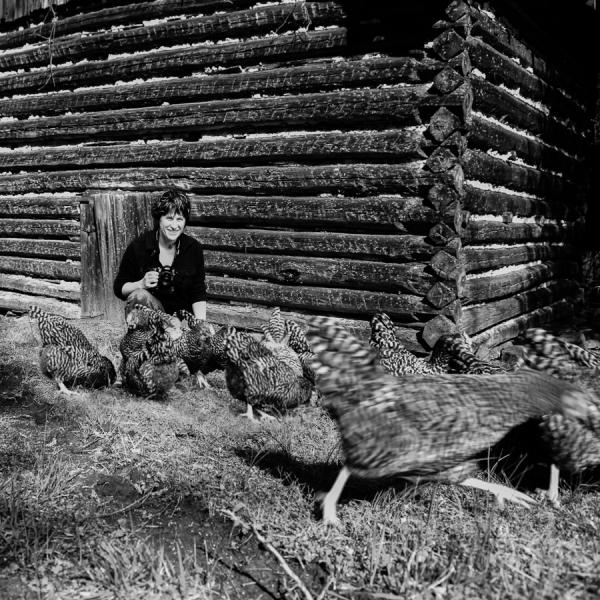 Brenda Scott, self portrait with the chickens of Stagville