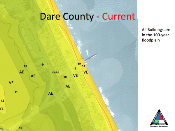 The current flood zones in Dare County
