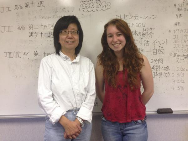 Chapel Hill High School Japanese teacher Yoshimi Aoyagi and senior Nell Ovitt