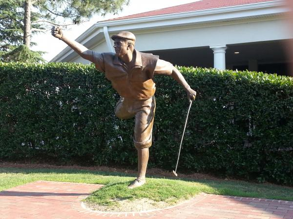 A statue of Payne Stewart is next to the 18th green at Pinehurst No. 2, where the 114th US Open is taking place this week. Stewart won the 1999 US Open at Pinehurst, and struck this pose after clinching the win.