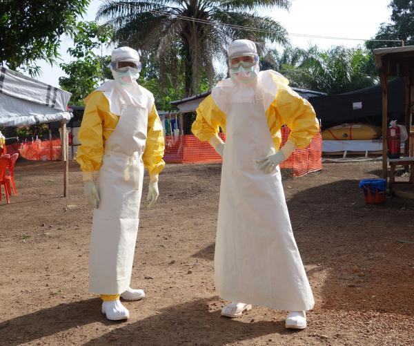 Dr. Fischer and a colleague. This clothing will protect them from Ebola.