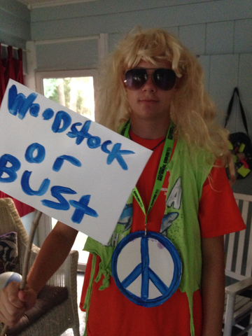 """My son for """"Through the Decades"""" week at Camp Clearwater, YMCA, Chapel Hill"""