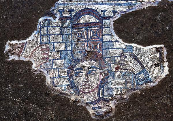 Samson carrying the gate of Gaza, mosaic uncovered by an archaeological team on a dig in Galilee led by UNC- Chapel Hill's Jodi Magness.