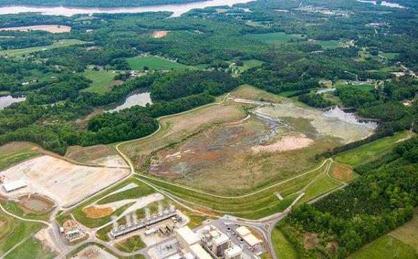 Aerial photo: Duke Energy's coal burning facility near Salisbury, N.C.