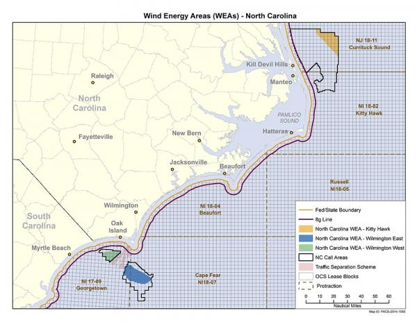 A map of The proposed areas for possible wind energy development.