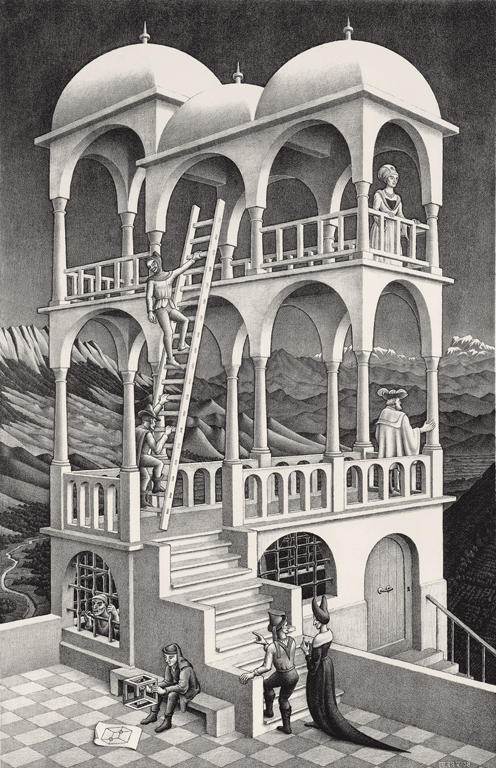 an analysis of the mc escher on the perspective in day and night Mc escher on artstack  while william hogarth's 1754 satire on false perspective, foreshadows escher's playful exploration of  day and night, woodcut.