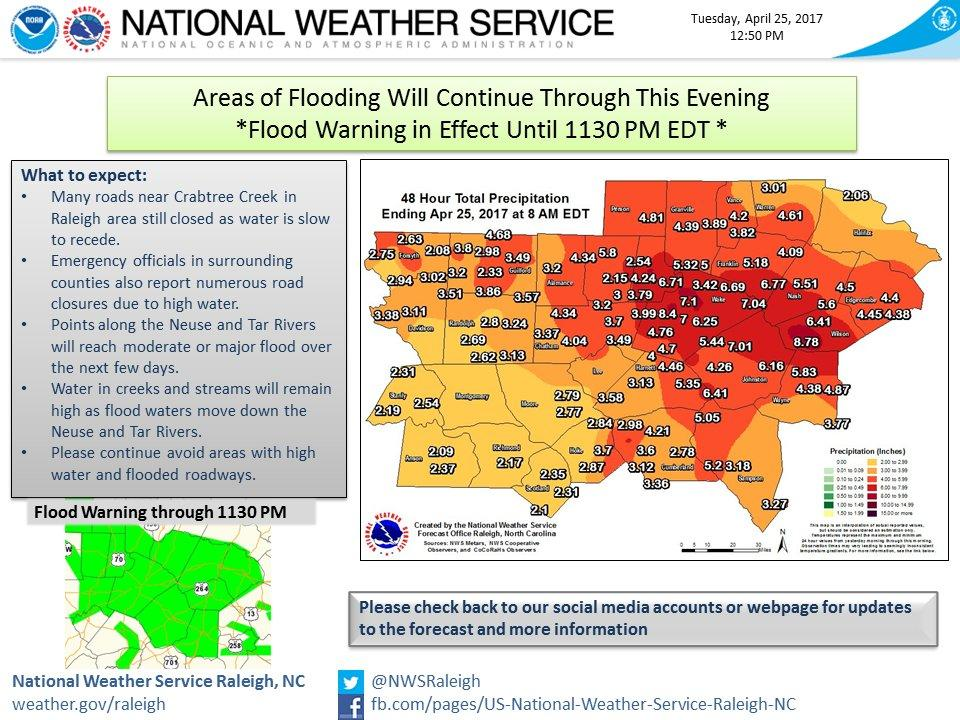 Flood Map For Portions Of North Carolina Until 11 30 P M Tuesday April 25 2017 Courtesy Of The National Weather Service
