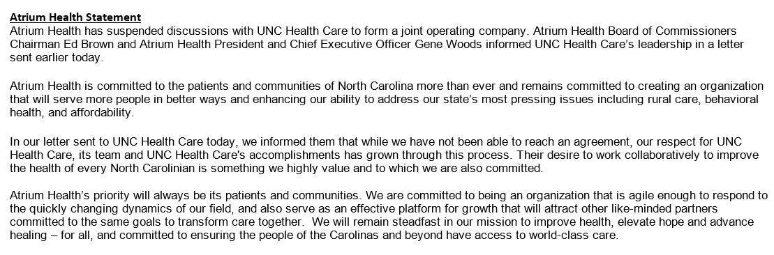 Unc Health Care And Atrium Health Break Off Partnership Talks Wunc