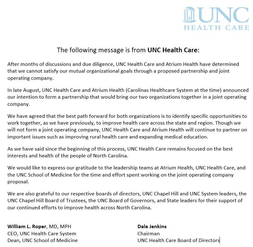 Atrium Health suspends merger negotiations with UNC Health Care
