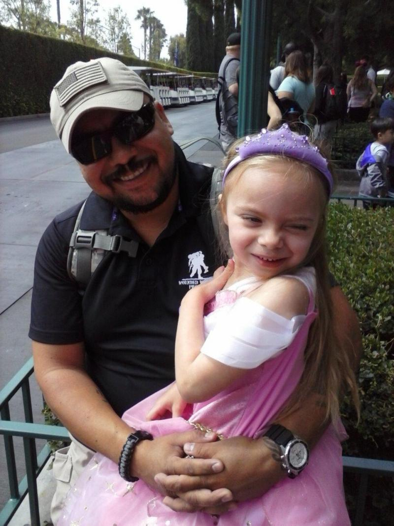 Former paratrooper Adrian Carrillo with his five year old daughter Adrea. Carrillo has spent months searching for affordable housing in Southern California.