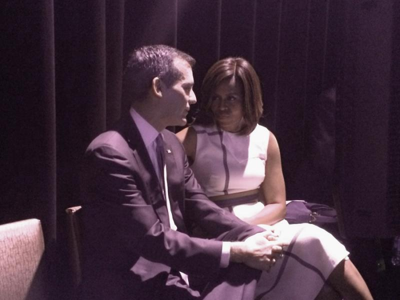 Mayor Eric Garcetti and First Lady Michelle Obama at a June 2014 event where Garcetti pledged to end homelessness among military veterans by the end of 2015.
