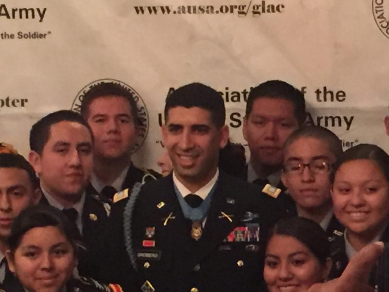 Capt. Florent Groberg with Southern California high school students.