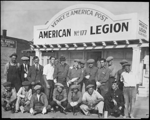 Men pose outside American Legion Post 177 in Venice, California in this undated photo. The post remains in operation today.