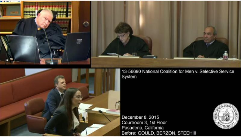 Screenshot of video taken during oral arguments. Clockwise from top-left: Judge Ronald Gould, Judge Marsha Marsha Berzon, Judge George Steeh III, U.S. Attorney Sonia McNeil, and plaintiffs' attorney Marc Angelucci.