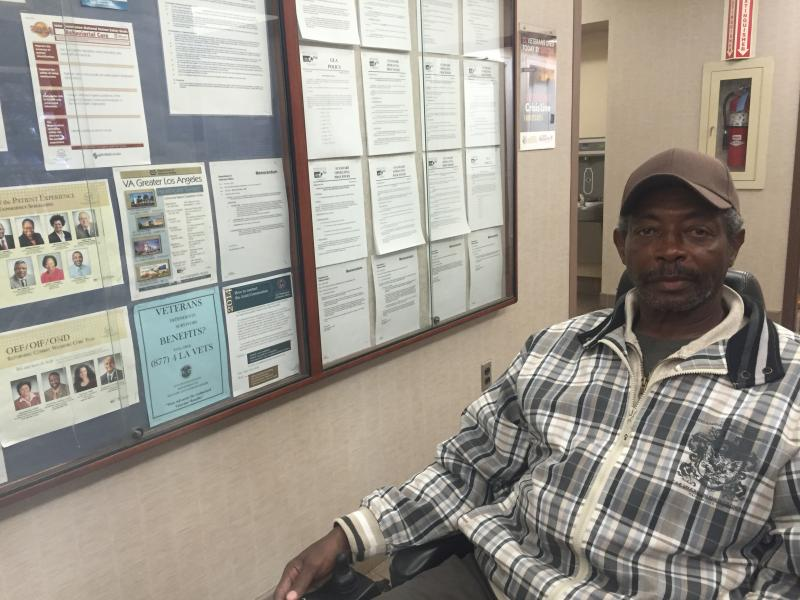 Marine Corps veteran Clarence Moore is living in a transitional housing dorm in Los Angeles as he struggles to find a permanent home.
