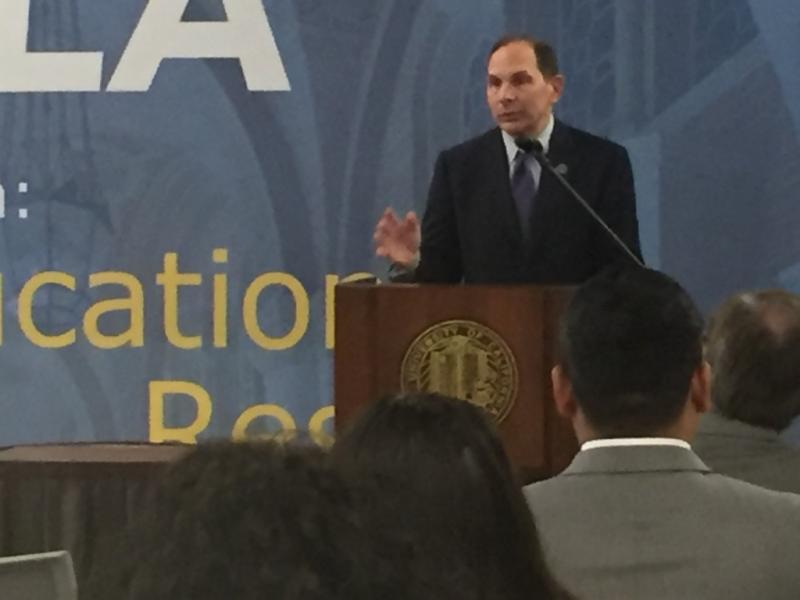 Department of Veterans Affairs Secretary Bob McDonald speaks at an event at UCLA, asking landlords to offer leases to homeless veterans.