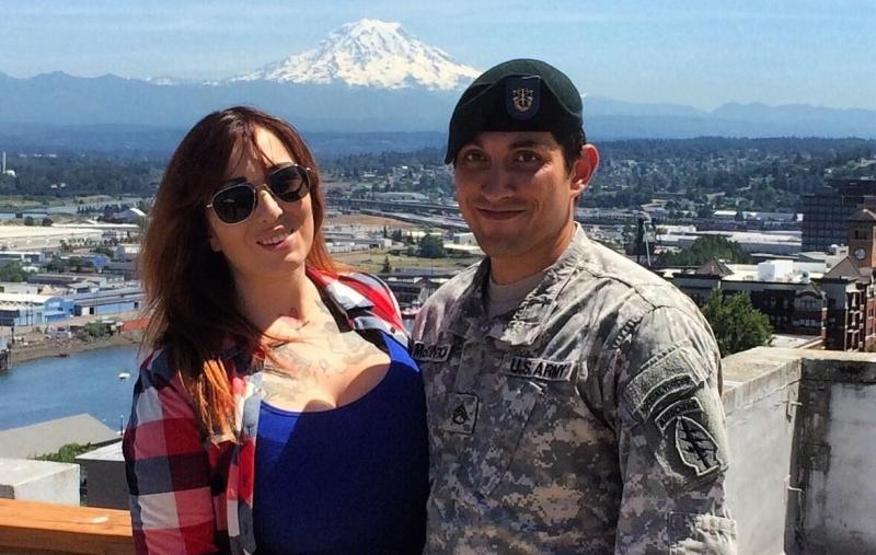 Allie and Matthew McClintock pose for a photo in Seattle. Matthew rarely allowed himself to be photographed in his uniform.