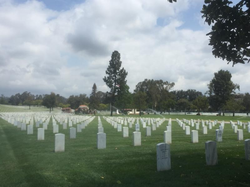 The northern half of Los Angeles National Cemetery in Westwood.