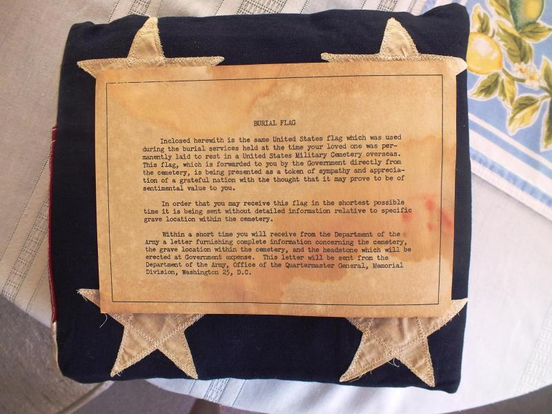 The burial flag for Leo Chalcraft sent to his mother Lelia Chalcraft of St. Petersburg, FL.