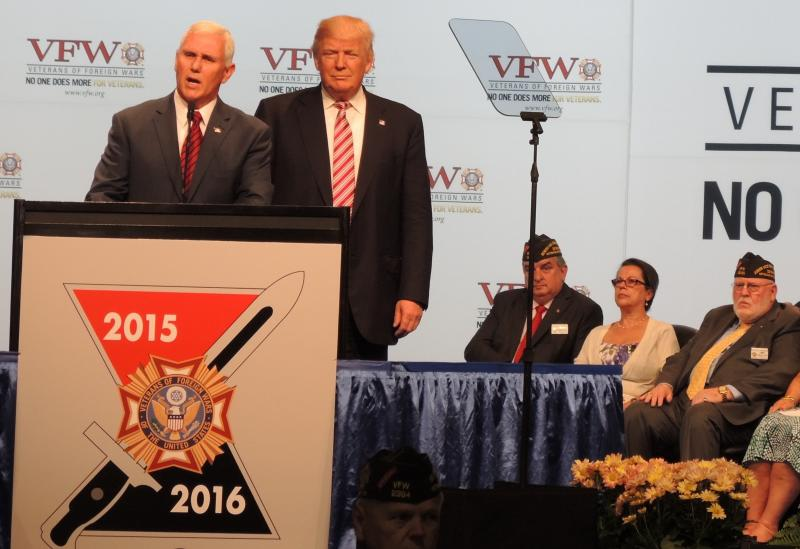 Republican Presidential and Vice Presidential nominees Donald Trump and Mike Pence address the VFW convention in Charlotte.