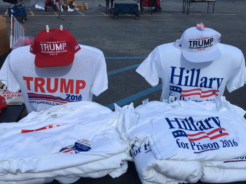 At Donald Trump's Fayetteville rally, vendors sold clothing supporting Trump and opposing Democratic nominee Hillary Clinton.