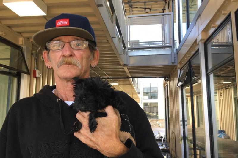 Vietnam-era veteran Jimmy Palmiter and his poodle Fifi will be among the first residents at Potter's Lane.