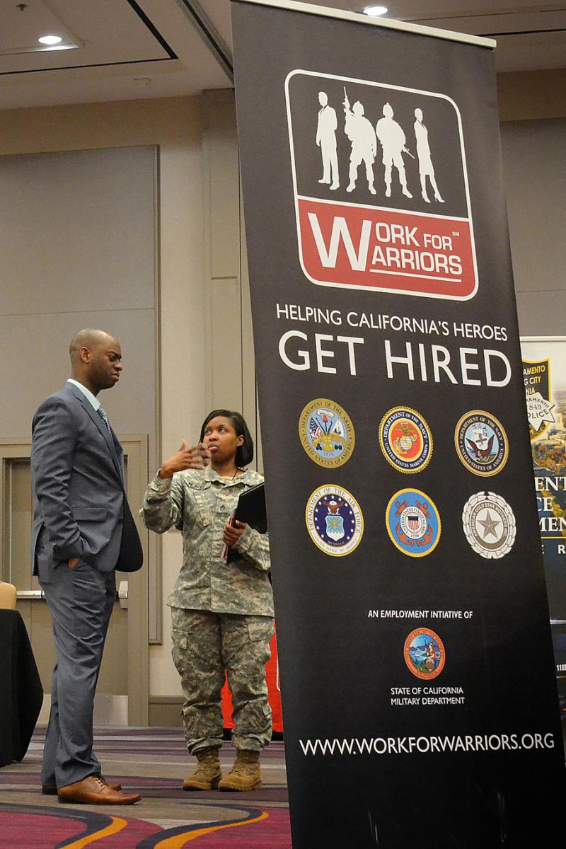 Veterans seek employment at an Army Corps of Engineers career fair in Sacramento, Cal. in April 2016.