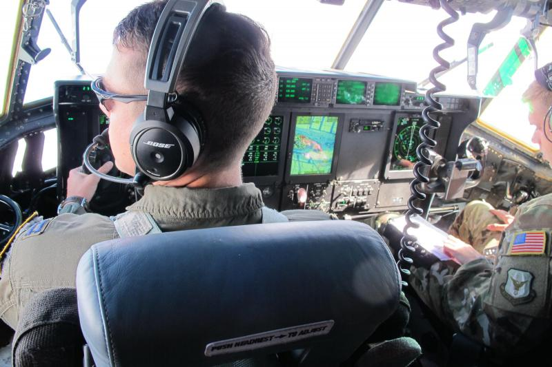 Pilots from the 45th Aeromedical Evacuation Squadron fly a C130 to evacuate patients from St. Croix.
