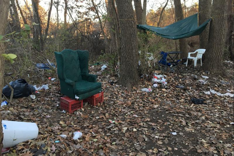 Homeless veterans and other homless people live in this encampment near the Saratoga Springs, New York train station.