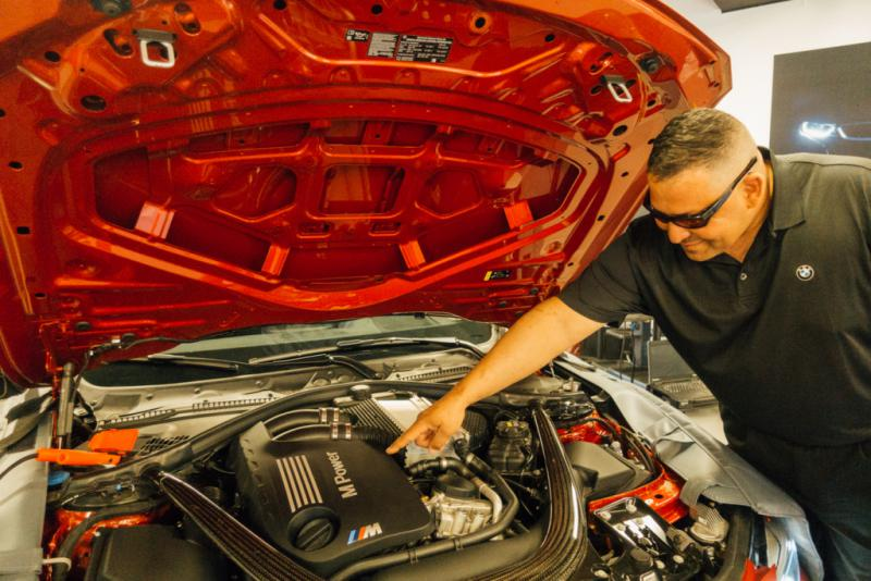 Marine Corps Master Sgt. David Lopez is a car enthusiast with 23 years in the military. He's learning to work on BMW engines as part of the inaugural class of the Military Service Technician Education Program at Camp Pendleton.