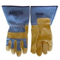 A pair of Knox-Fit gloves manufactured by Knoxville Glove Company.
