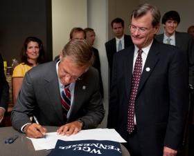 Governor Haslam signs a bill establishing Tennessee's Western Governor's University on July 9, 2013.