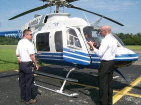 A TVA helicopter used to monitor power transmission lines from the air.