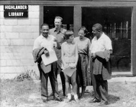 The Reverend Martin Luther King, Jr., Pete Seeger, Charis Horton, Rosa Parks and Ralph Abernathy at the Highlander Folk School in Monteagle, Tennessee, in 1957. (Photo by Highlander Center)