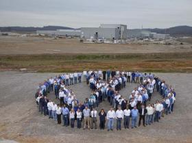 Volkswagen employees gather outside the Chattanooga plant in 2010.