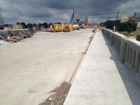 The final day of concrete pouring at the Henley Street Bridge, August 22, 2013.