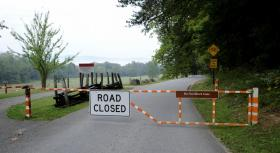 The loop road to Cades Cove closed in the Great Smoky Mountain National Park Tuesday, Oct. 1, 2013 because of the government shutdown. (MICHAEL PATRICK/NEWS SENTINEL)