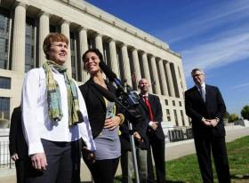 Dr. Sophy Jesty, left, and Dr. Valeria Tanco of Knoxville speak outside the Davidson County courthouse in Nashville on October, 21, 2013. The two are plaintiffs in a lawsuit over Tennessee's ban on same-sex marriage.
