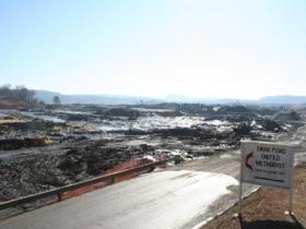 Swan Pond Road in Harriman overlooks a sea of coal ash following the December 2008 spill of ash from the TVA's Kingston Fossil Plant.